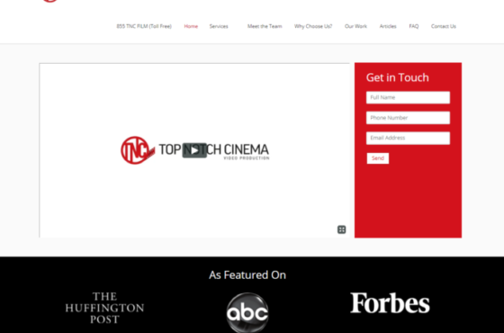 Top Notch Cinema Video Marketing Landing Page